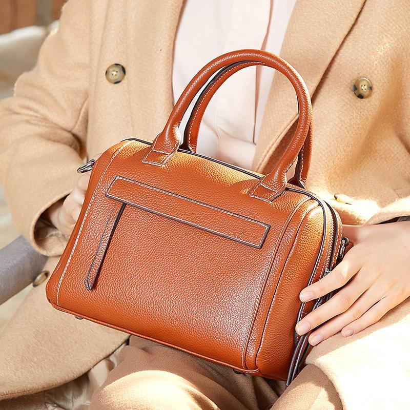 Trendinggate.com Leather Lady Bag Fashion Bag Girl 2018 new top cowhide sloping shoulder bag portable Boston bag 1058
