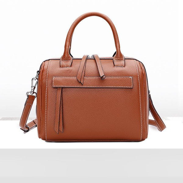 Trendinggate.com Brown Leather Lady Bag Fashion Bag Girl 2018 new top cowhide sloping shoulder bag portable Boston bag 1058