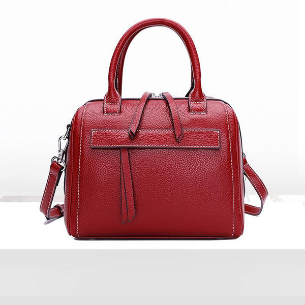 Trendinggate.com Claret Leather Lady Bag Fashion Bag Girl 2018 new top cowhide sloping shoulder bag portable Boston bag 1058