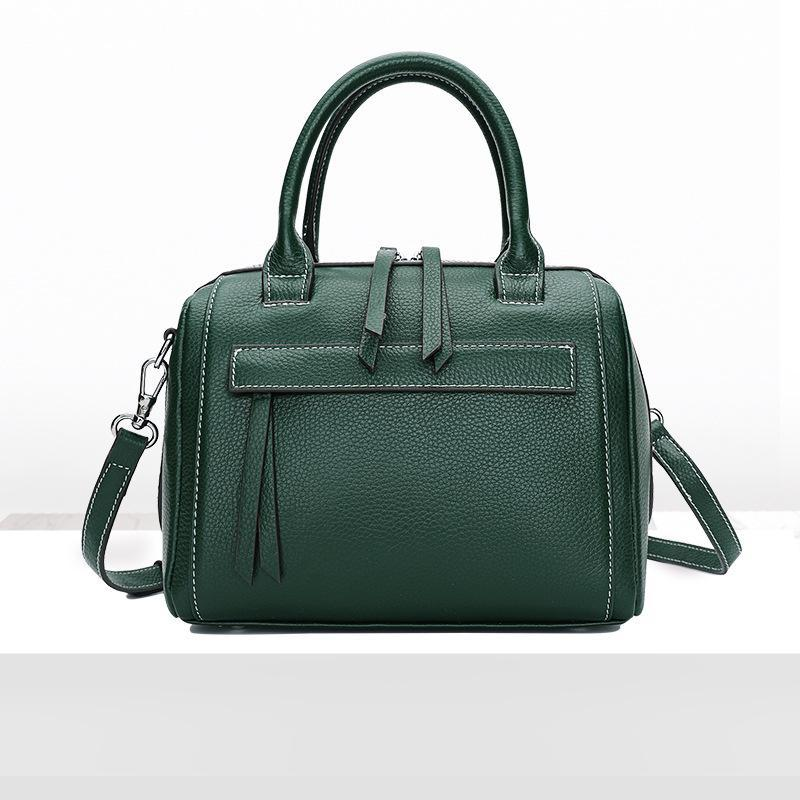 Trendinggate.com Green Leather Lady Bag Fashion Bag Girl 2018 new top cowhide sloping shoulder bag portable Boston bag 1058