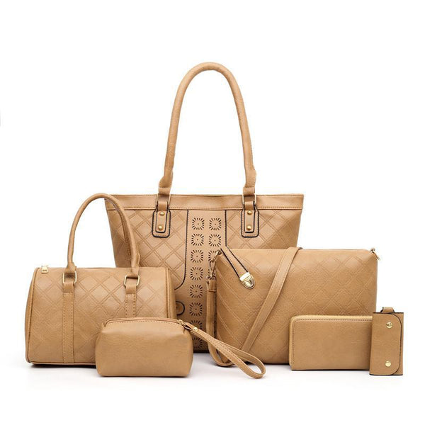 Trendinggate.com Apricot Manufacturers direct sales of the new single shoulder slanting multi-piece bag ladies set mother bag fashion retro-European and American explosions in 2019