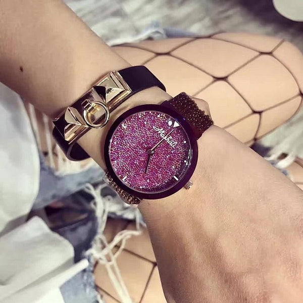 Trendinggate.com Marsally's new purple strap women's watch with star-studded surface fringed strap fashion trend women's Watch (Purple shell, purple surface)