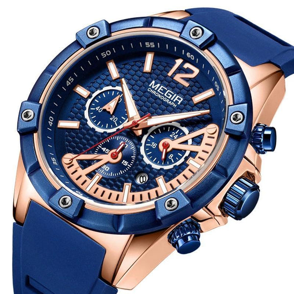 Trendinggate.com Men's Watches MEGIR a blue band for a cool athletic look