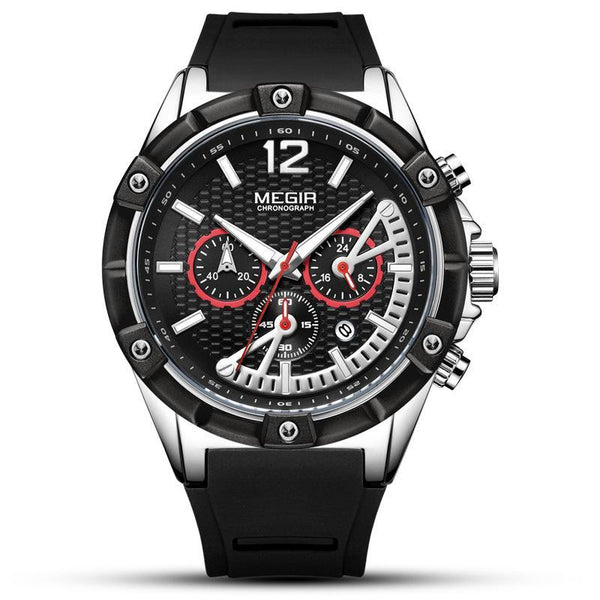 Trendinggate.com Men's Watches Black Belt in Black Steel Shell MEGIR a blue band for a cool athletic look