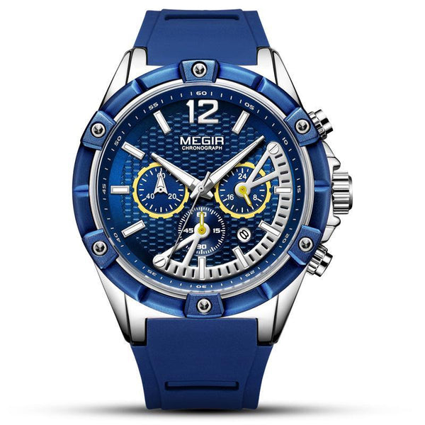 Trendinggate.com Men's Watches Blue steel shell blue belt MEGIR a blue band for a cool athletic look