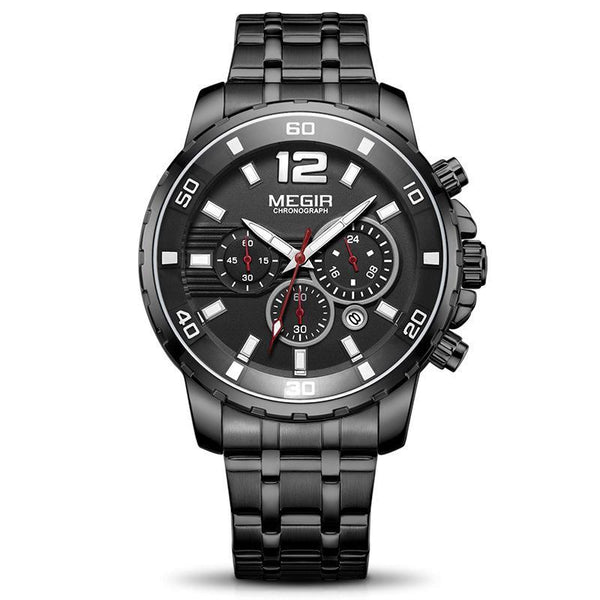 Trendinggate.com Men's Watches Black belt MEGIR a durable stainless steel band ideal for use
