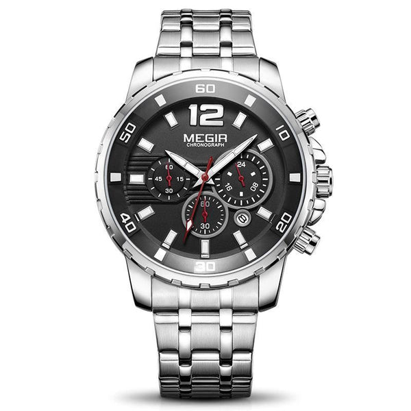 Trendinggate.com Men's Watches Black steel strip MEGIR a durable stainless steel band ideal for use