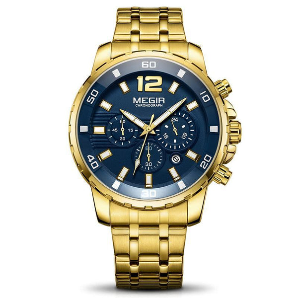 Trendinggate.com Men's Watches Blue gold belt MEGIR a durable stainless steel band ideal for use