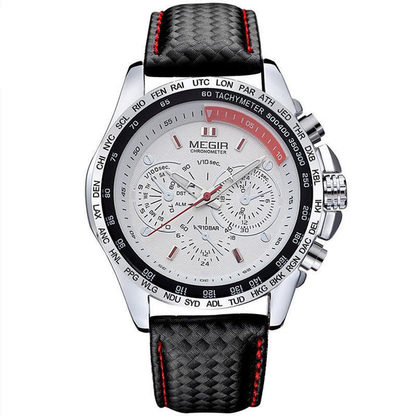 https://detail.1688.com/offer/530981002318.html White face of black steel shell MEGIR A+ generation luminous three-eyed sports men's watch