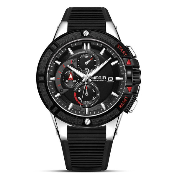 Trendinggate.com Men's Watches Black steel shell black belt MEGIR classic design brings style and prestige to any outfit