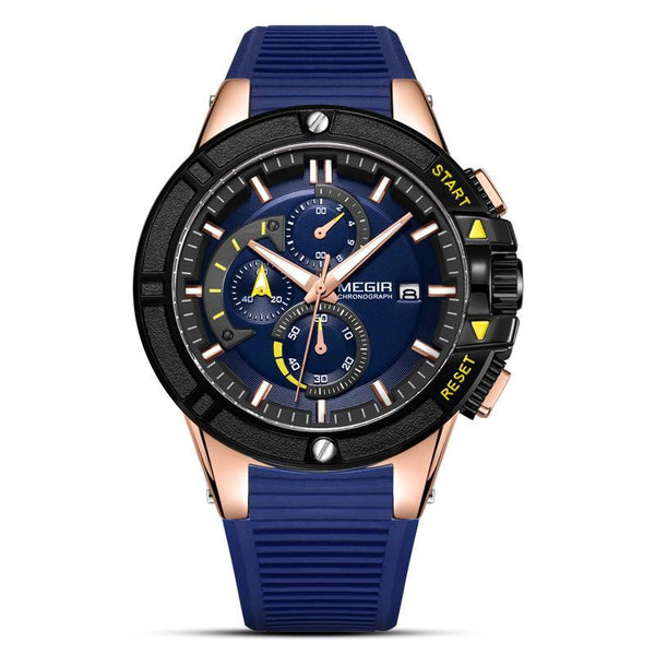 Trendinggate.com Men's Watches Blue-faced rose shell blue belt MEGIR classic design brings style and prestige to any outfit