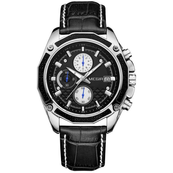 Trendinggate.com Men's Watches Black belt, black face MEGIR classic elegant with a leather strap to add more classy to your style