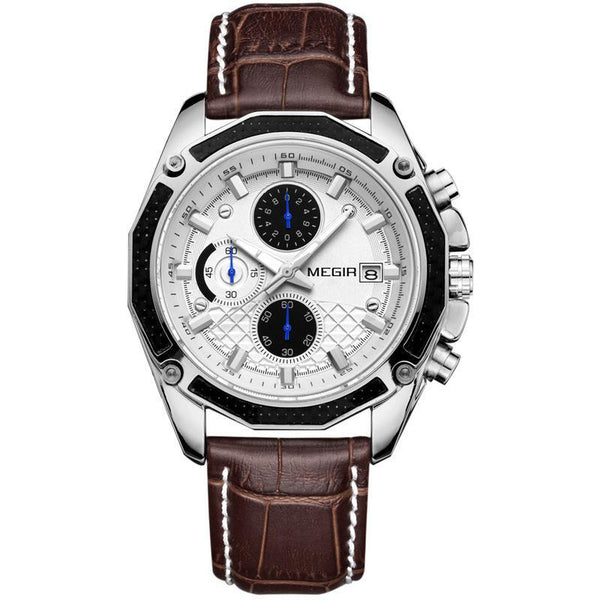 Trendinggate.com Men's Watches Brown with white flour MEGIR classic elegant with a leather strap to add more classy to your style