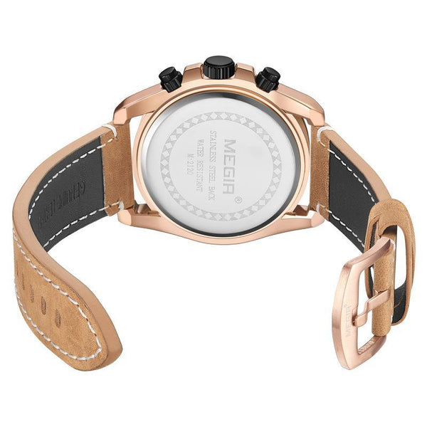 Trendinggate.com Men's Watches MEGIR leather band offers an impressive and a comfortable fit