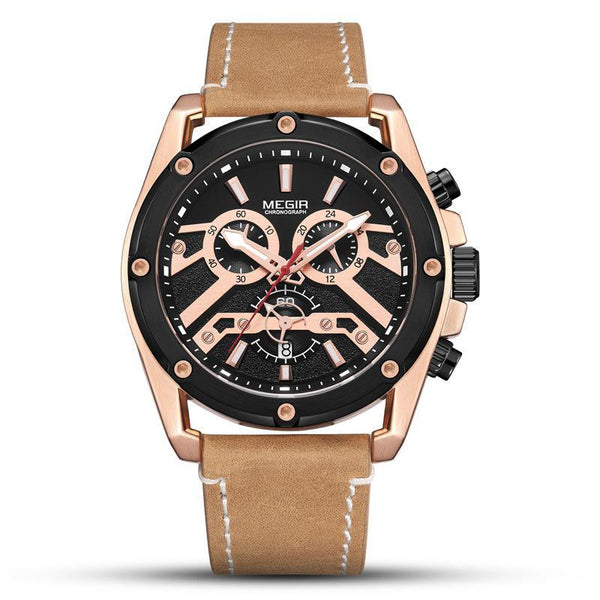 Trendinggate.com Men's Watches Brown belt with black rose shell MEGIR leather band offers an impressive and a comfortable fit