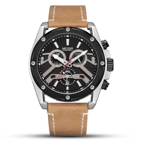 Trendinggate.com Men's Watches Brown Belt with Black Steel Shell MEGIR leather band offers an impressive and a comfortable fit