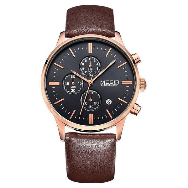 Trendinggate.com Men's Watches Black-faced rose-plated brown belt MEGIR multi-function watch for multi occasion