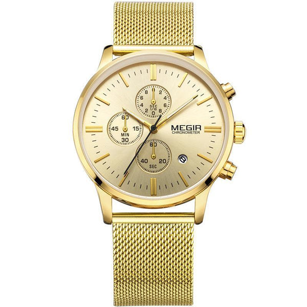 Trendinggate.com Men's Watches Gold belt, gold shell, gold face MEGIR multi-function watch for multi occasion