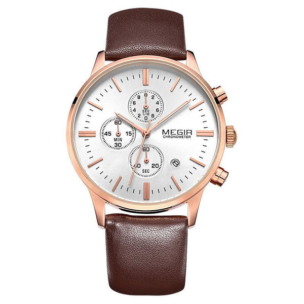 Trendinggate.com Men's Watches White flour plated with rose brown belt MEGIR multi-function watch for multi occasion