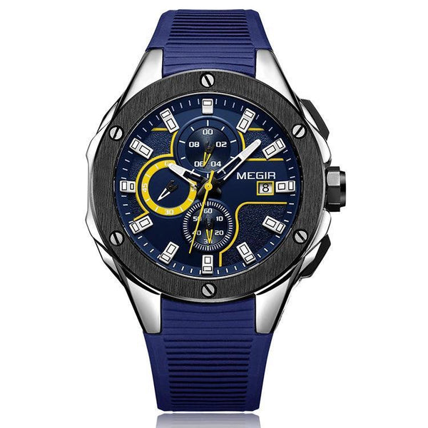 Trendinggate.com Men's Watches Black blue face blue glue MEGIR simple casual round face featuring a quartz movement