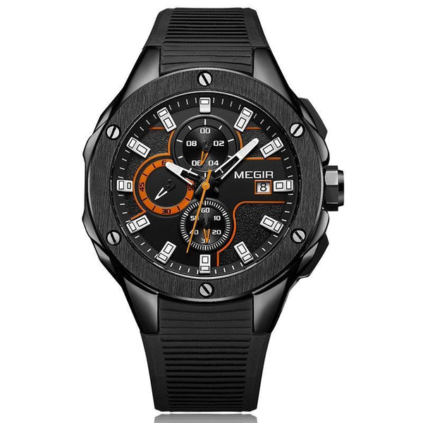 Trendinggate.com Men's Watches Black face black glue MEGIR simple casual round face featuring a quartz movement