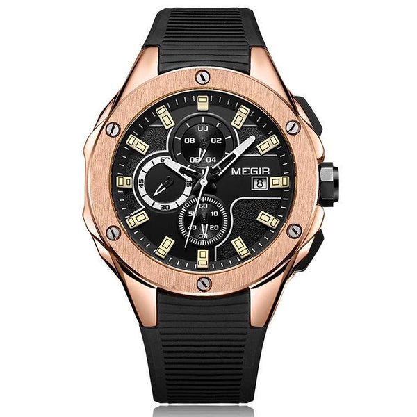 Trendinggate.com Men's Watches Rose black face black glue MEGIR simple casual round face featuring a quartz movement