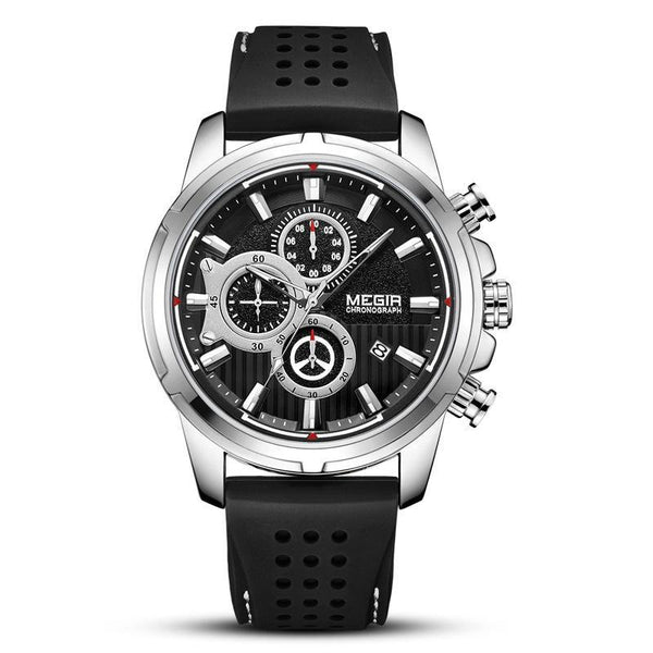 Trendinggate.com Men's Watches Black Belt in Black Steel Shell MEGIR tough rubber band keeps it secure and comfortable