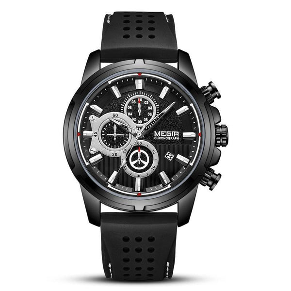 Trendinggate.com Men's Watches Black face, black shell and black belt MEGIR tough rubber band keeps it secure and comfortable