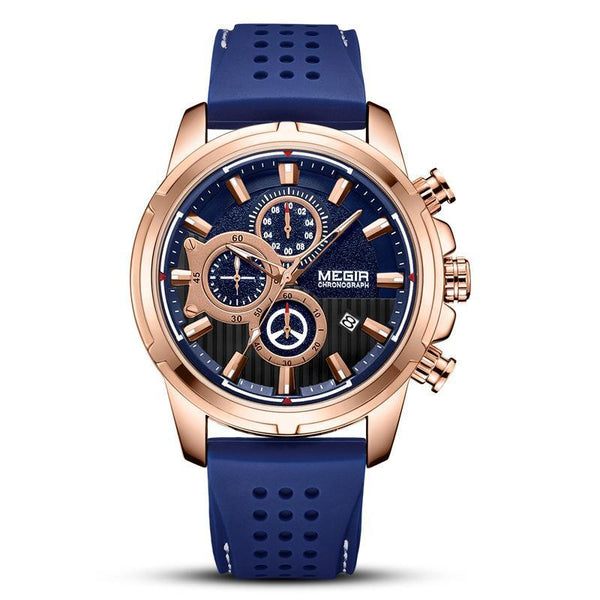 Trendinggate.com Men's Watches Blue-faced rose shell blue belt MEGIR tough rubber band keeps it secure and comfortable