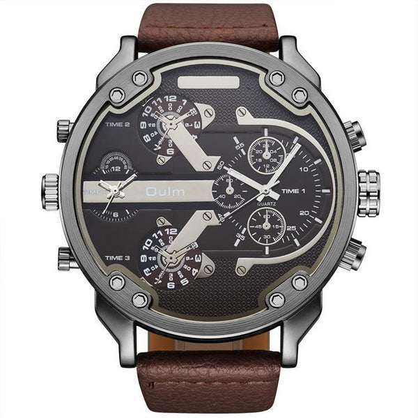 Trendinggate.com Brown colo Men's watch wholesale oulm foreign trade hot sales quartz watch two places to walk belt leisure trend watch HP3548
