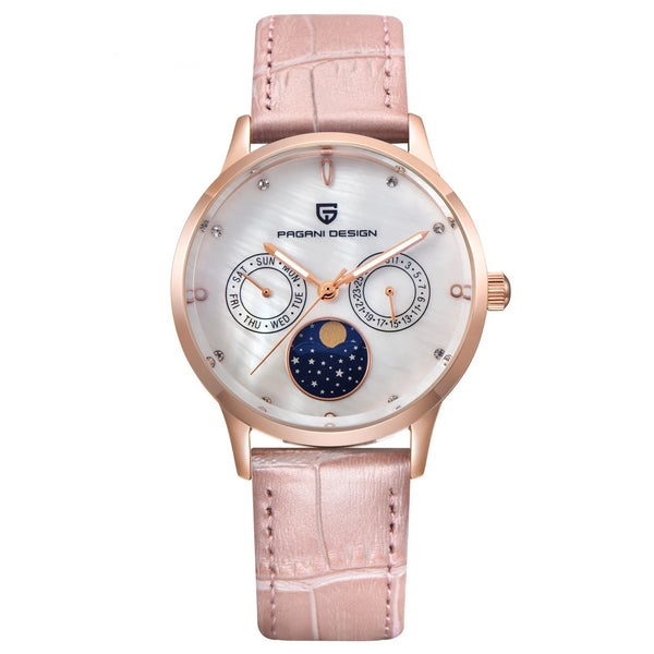 Trendinggate.com Gold Shell White Face Ms. Bergani Watch Gift Fashion Calendar Watch Fashion Function Leisure Watch Woman Watches 2723