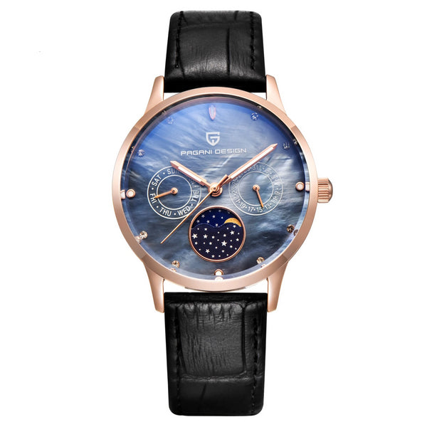 Trendinggate.com Golden Shell and Blue Face Ms. Bergani Watch Gift Fashion Calendar Watch Fashion Function Leisure Watch Woman Watches 2723