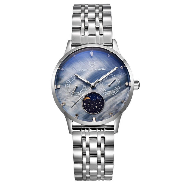 Trendinggate.com White shell blue steel strip Ms. Bergani Watch Gift Fashion Calendar Watch Fashion Function Leisure Watch Woman Watches 2723