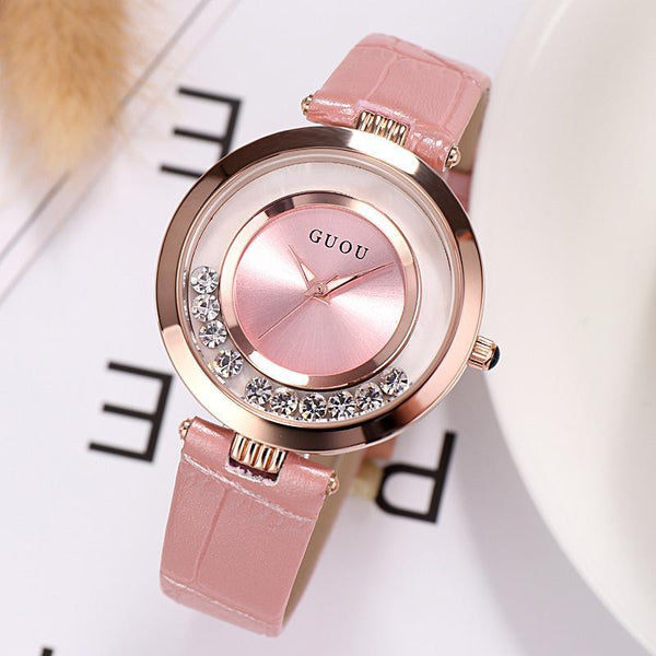 Trendinggate.com New ancient GuoU genuine lady watch waterproof fashion trend ultra-thin quartz watch real belt water drill fashion