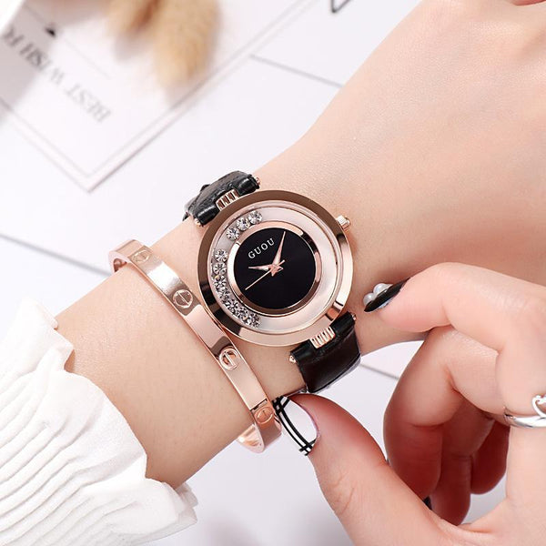 Trendinggate.com black (colour) New ancient GuoU genuine lady watch waterproof fashion trend ultra-thin quartz watch real belt water drill fashion