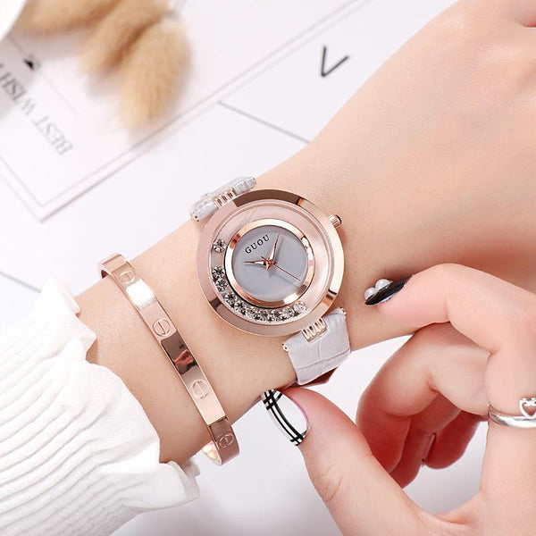 Trendinggate.com gray New ancient GuoU genuine lady watch waterproof fashion trend ultra-thin quartz watch real belt water drill fashion