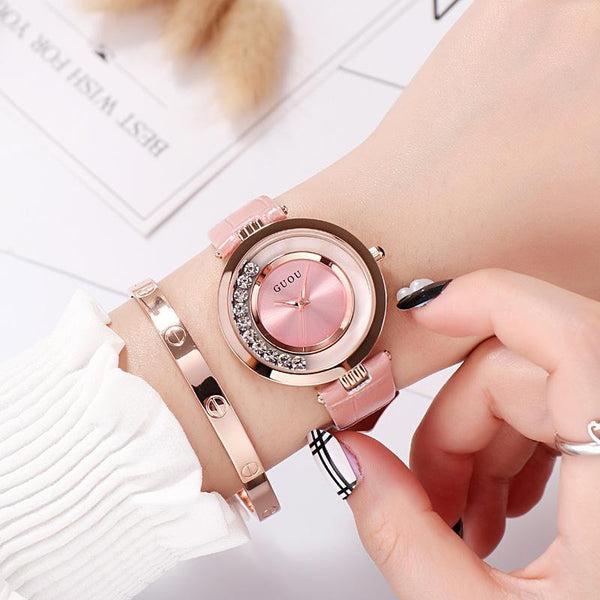 Trendinggate.com Pink New ancient GuoU genuine lady watch waterproof fashion trend ultra-thin quartz watch real belt water drill fashion