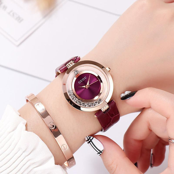 Trendinggate.com Purple New ancient GuoU genuine lady watch waterproof fashion trend ultra-thin quartz watch real belt water drill fashion