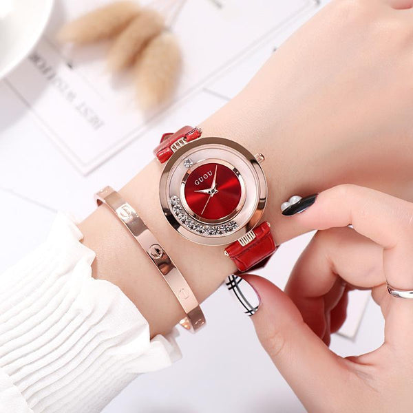 Trendinggate.com Red New ancient GuoU genuine lady watch waterproof fashion trend ultra-thin quartz watch real belt water drill fashion