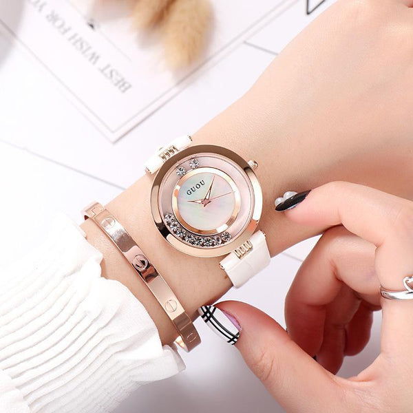 Trendinggate.com white New ancient GuoU genuine lady watch waterproof fashion trend ultra-thin quartz watch real belt water drill fashion