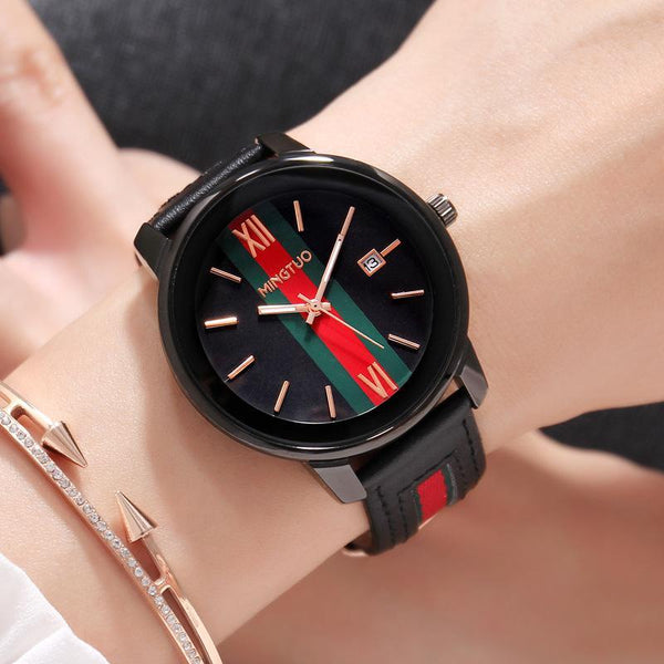 Trendinggate.com Black face black belt New atmospheric fashion large dial calendar women's watches fashion leather decorative fashion casual ladies watches in Europe and the United States