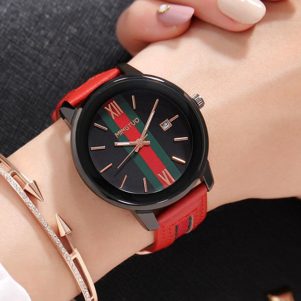 Trendinggate.com Black face red belt New atmospheric fashion large dial calendar women's watches fashion leather decorative fashion casual ladies watches in Europe and the United States