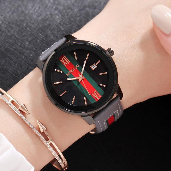 Trendinggate.com Black gray belt New atmospheric fashion large dial calendar women's watches fashion leather decorative fashion casual ladies watches in Europe and the United States