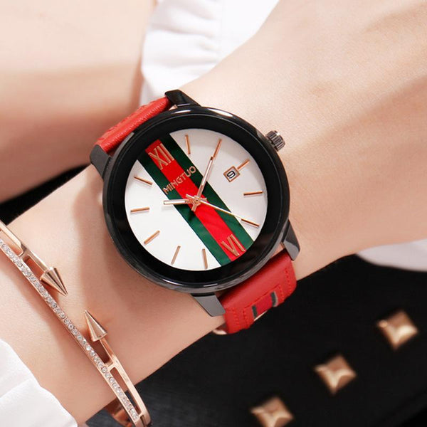 Trendinggate.com White face red belt New atmospheric fashion large dial calendar women's watches fashion leather decorative fashion casual ladies watches in Europe and the United States
