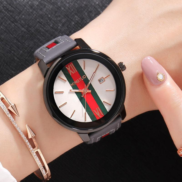 Trendinggate.com White faced grey belt New atmospheric fashion large dial calendar women's watches fashion leather decorative fashion casual ladies watches in Europe and the United States