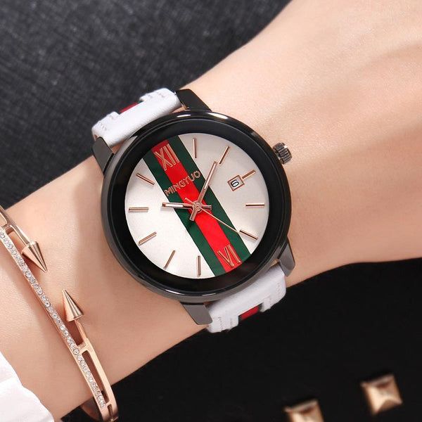 Trendinggate.com White leucorrhea New atmospheric fashion large dial calendar women's watches fashion leather decorative fashion casual ladies watches in Europe and the United States