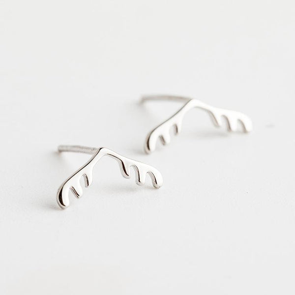 Trendinggate.com New Japanese and Korean style s925 pure Tremella nail female antler modeling trend personality ear jewelry simple personality silver ear nail (White)