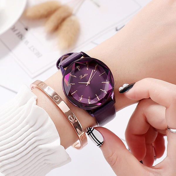 Trendinggate.com Purple New Style Sigaudi's Direct Sale Diamond Glass Red Watch for Ladies Supports One Delivery