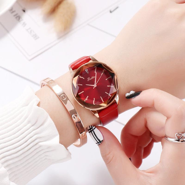 Trendinggate.com Red New Style Sigaudi's Direct Sale Diamond Glass Red Watch for Ladies Supports One Delivery