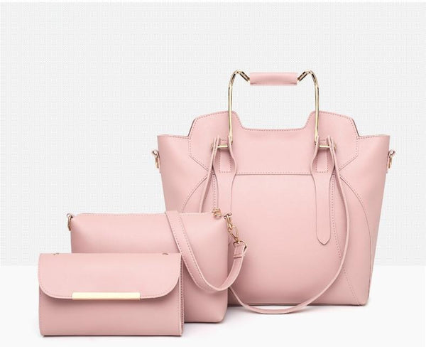 Trendinggate.com Handbags Pink New stylish sub-bag three-piece set